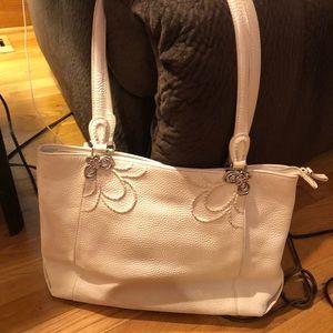 Brighton large white leather purse